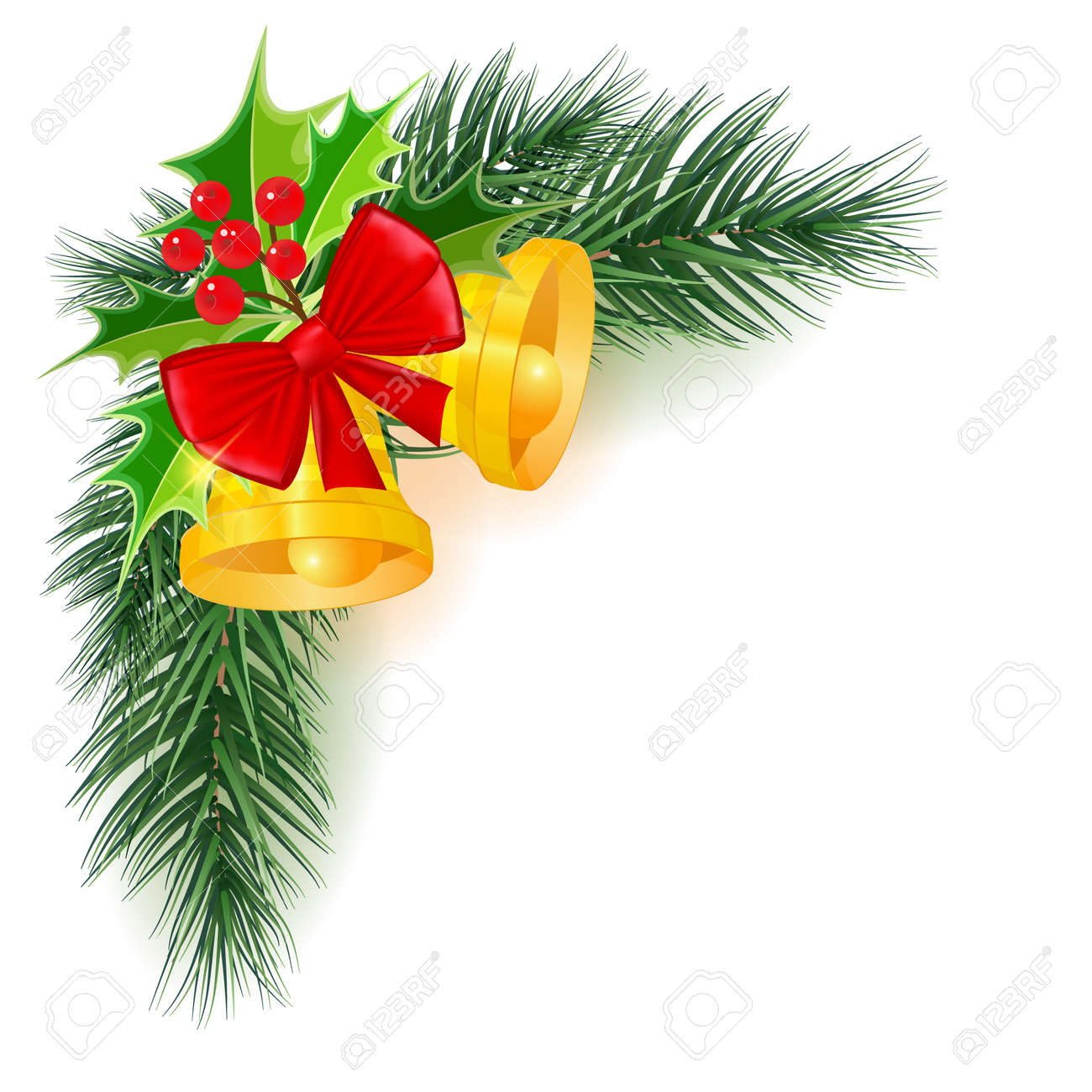 Christmas banner with branches, vector illustration. Beautiful new year background - 159690345