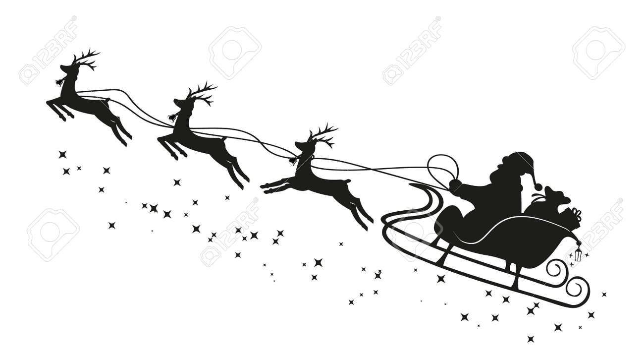 Santa Claus in a sleigh and with reindeer. Vector - 160140979