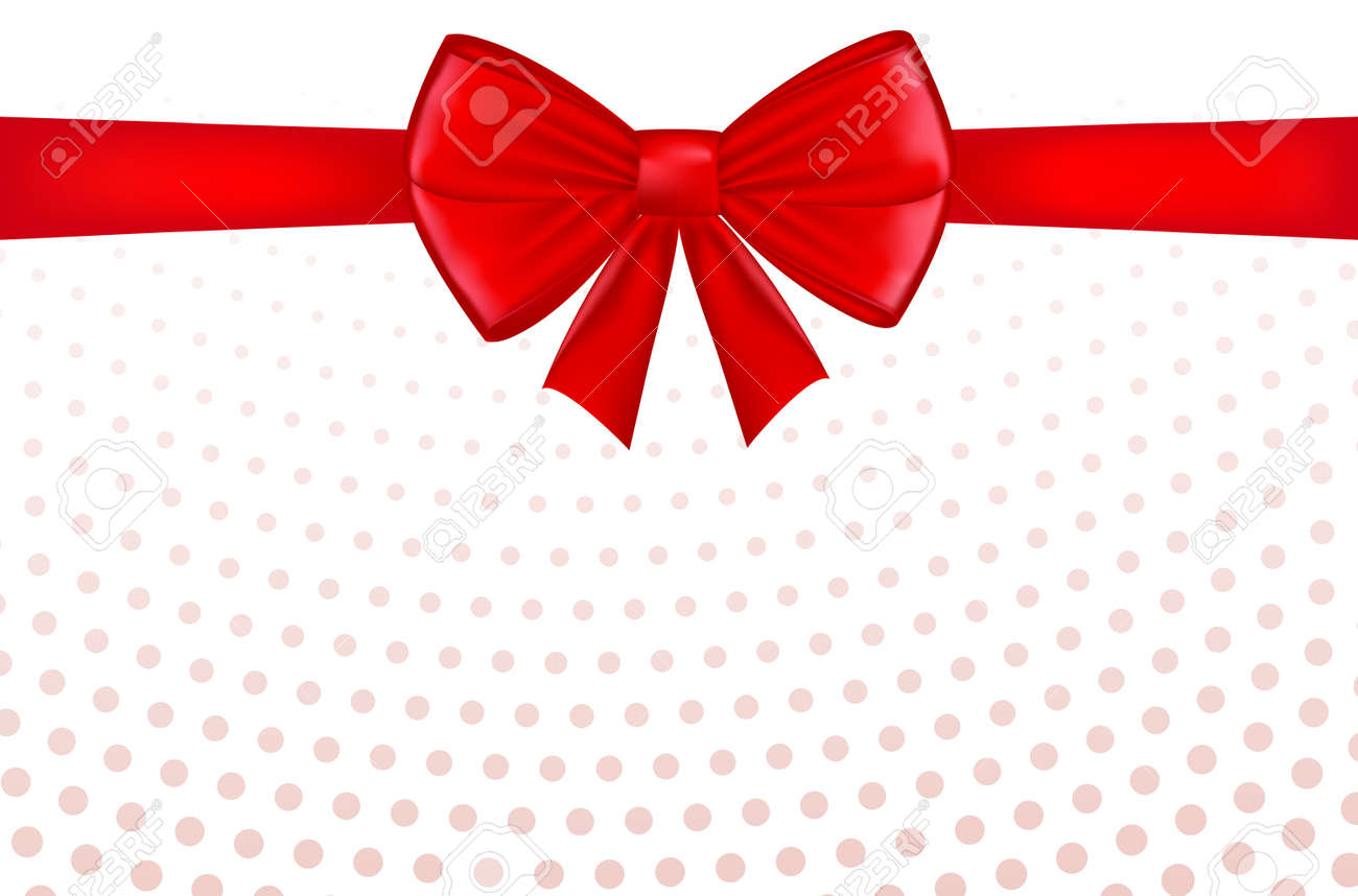 Red bow with ribbon and space for text. Gift voucher. Certificate or discount card template for promo compliment. Vector - 167627409