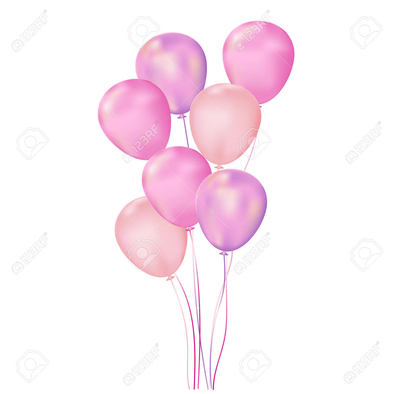 Colorful multicolored balloons. Bunch in 3 d style. Isolated on white background. Vector illustration - 160258744