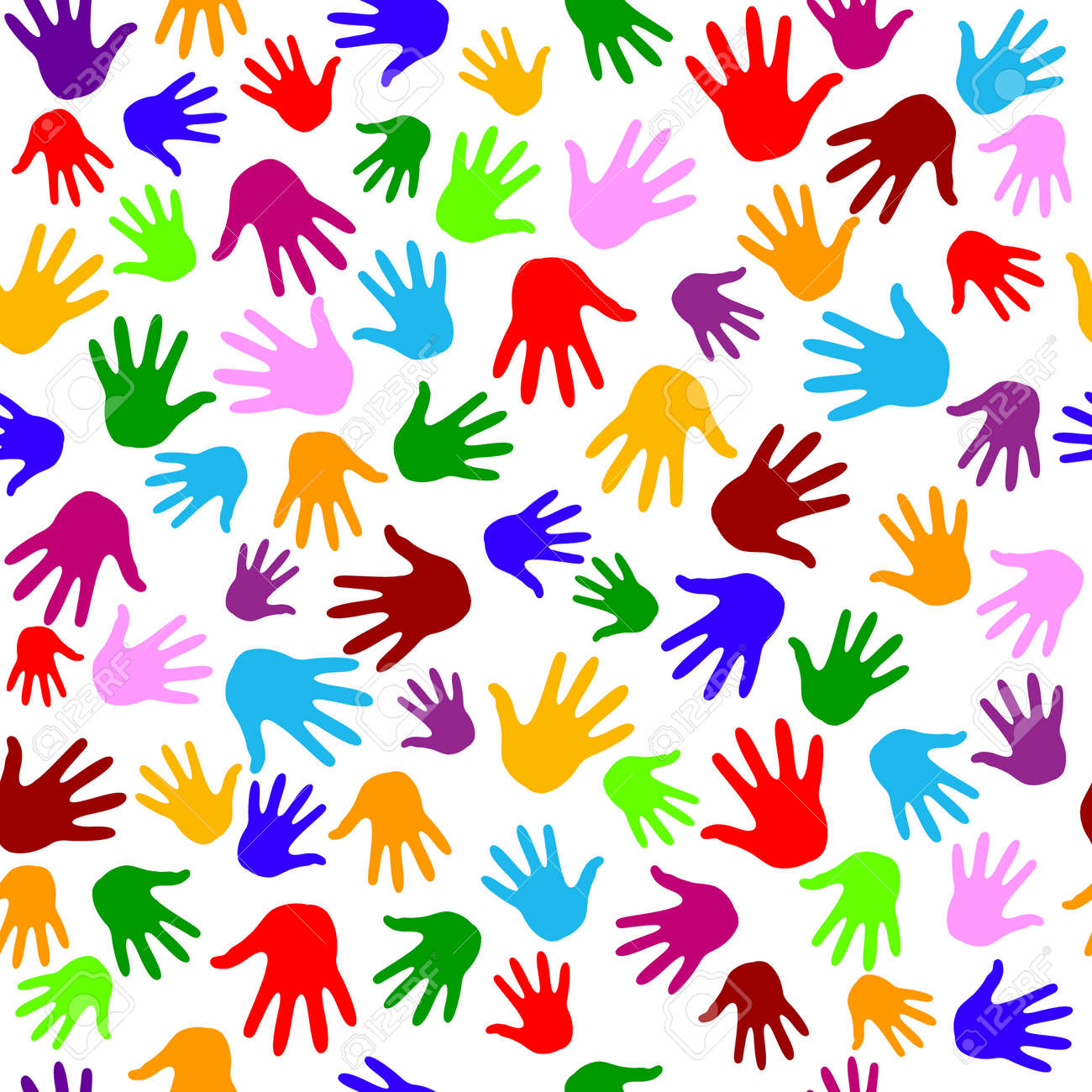 Hands pattern . Seamless pattern. Vector illustration isolated on a white background. - 160898508