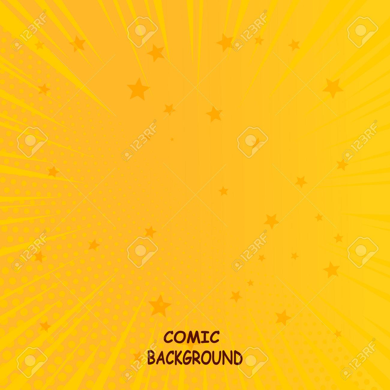 Vector halftone retro comic texture. Yellow background superhero. Lightning blast halftone dots. Cartoon vs. - 163460010