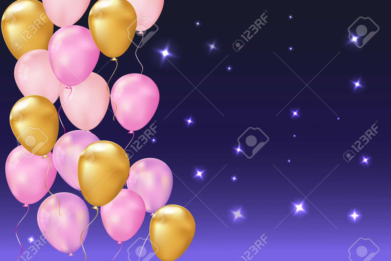 Happy birthday balloons on a beautiful background with an empty banner. Vector illustration - 163460009