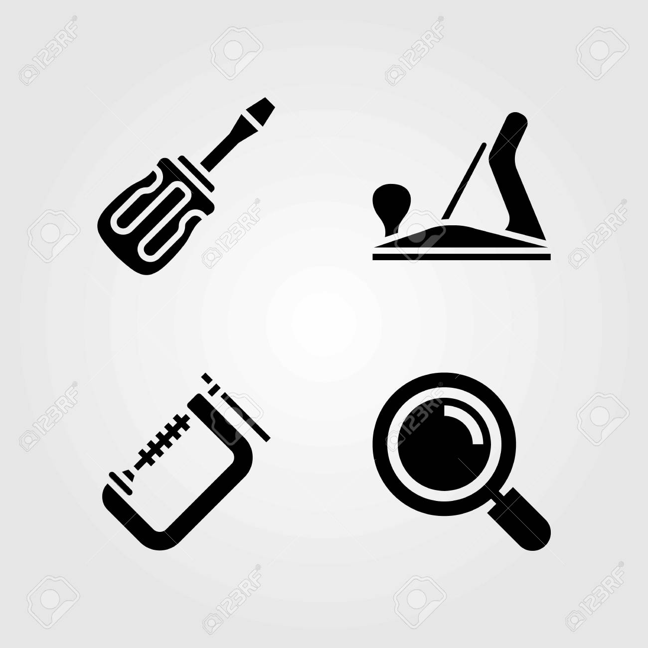 Tools Vector Icons Set Wood Plane Screwdriver And Loupe Royalty
