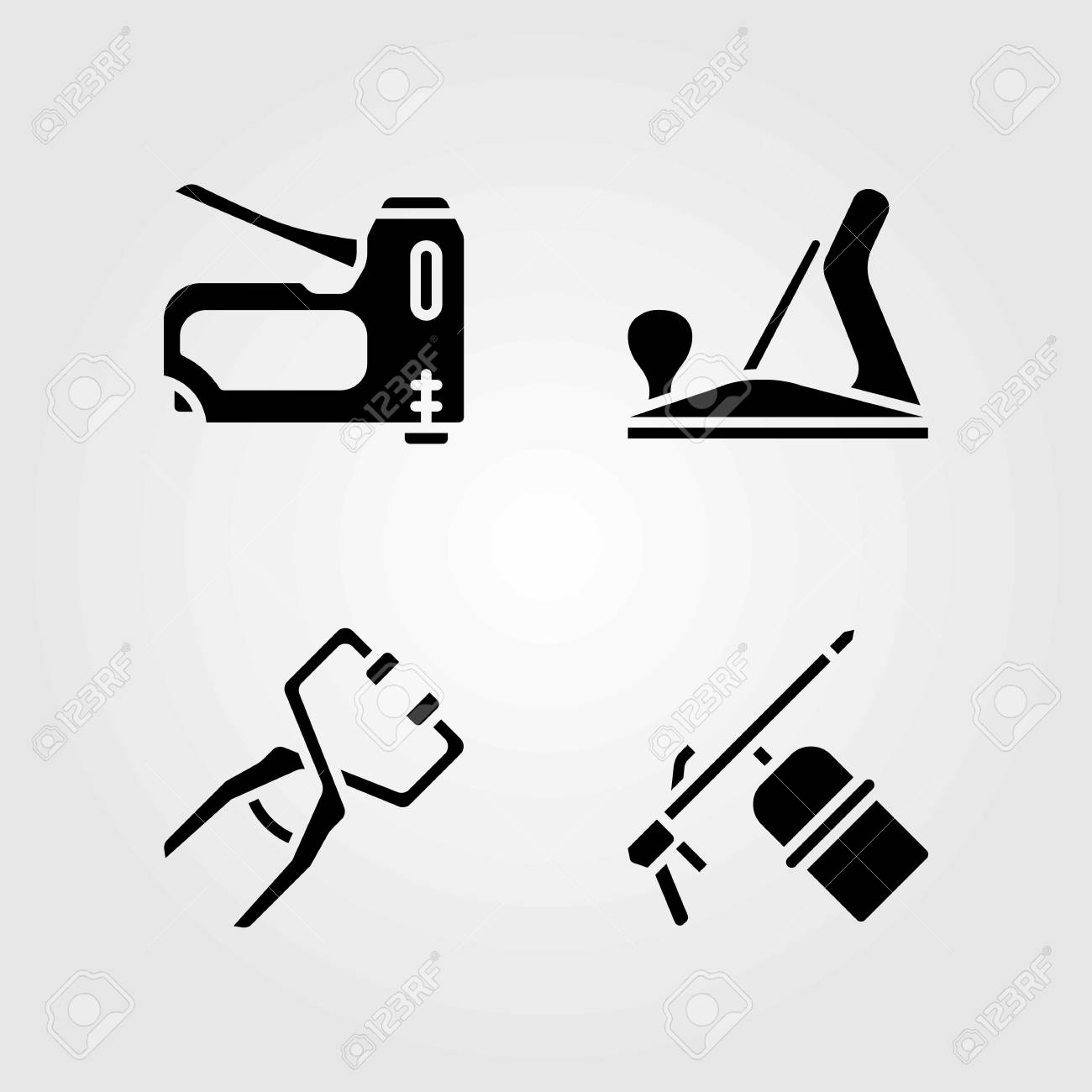 Tools Vector Icons Set Welder Clamp And Wood Plane Royalty Free