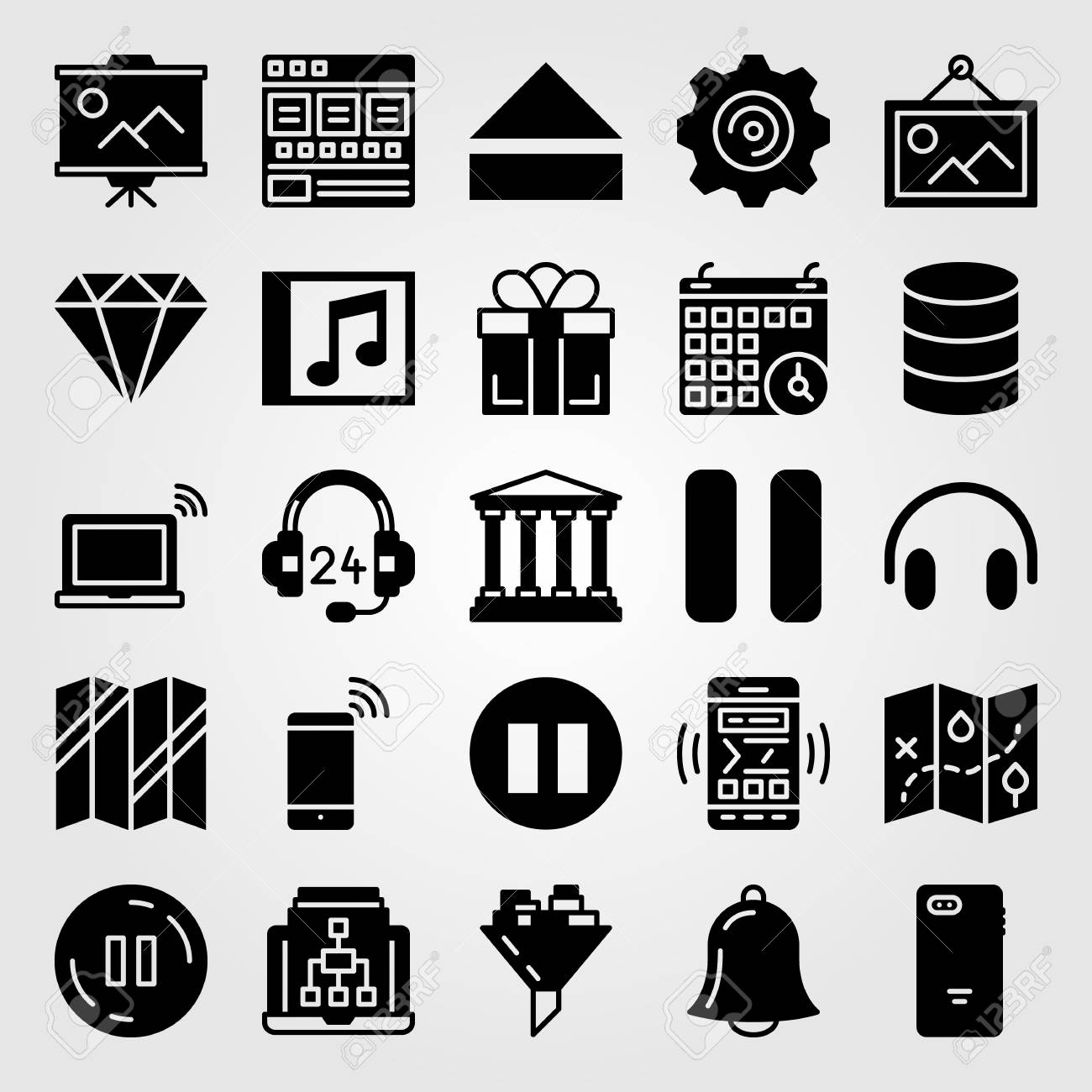 Essentials icon set vector  Calendar, laptop, browser and database