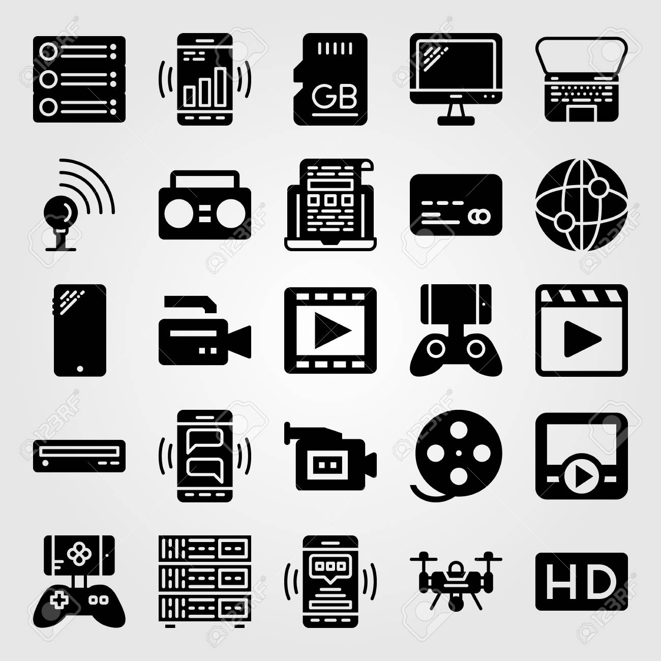 Technology icon set vector  server, credit card, sd card and
