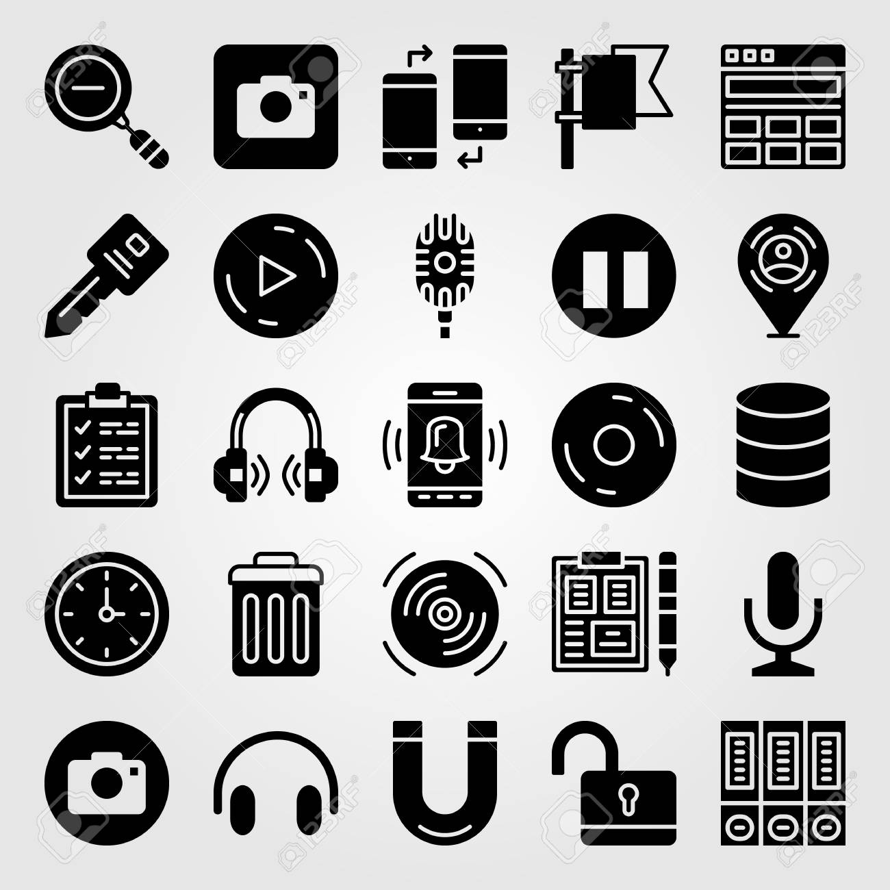 Essentials icon set vector  Placeholder, play button, zoom out