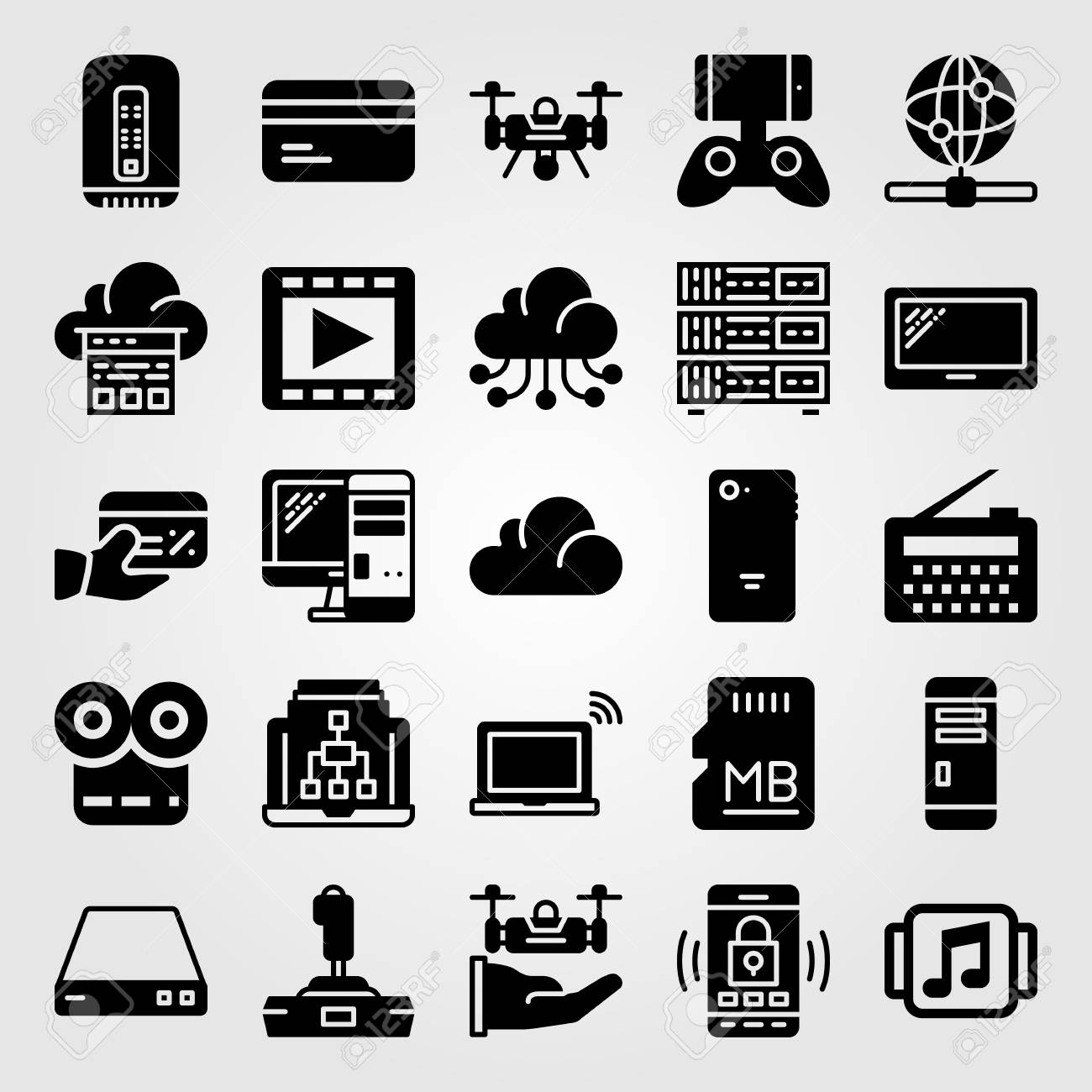 Technology vector icon set tablet router smartphone and web technology vector icon set tablet router smartphone and web stock vector 94238577 greentooth Image collections