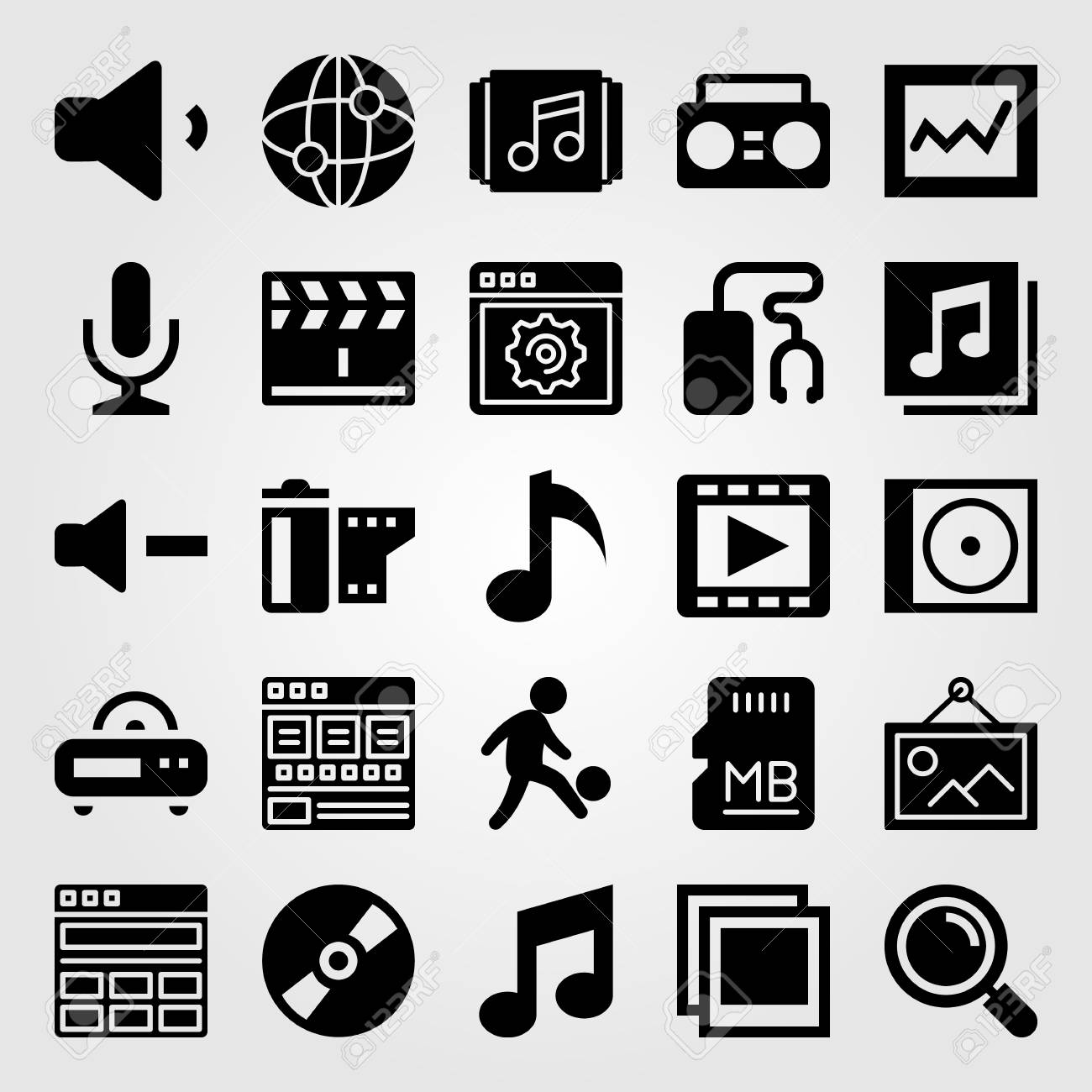 Multimedia icon set vector  playlist, musical note, music player