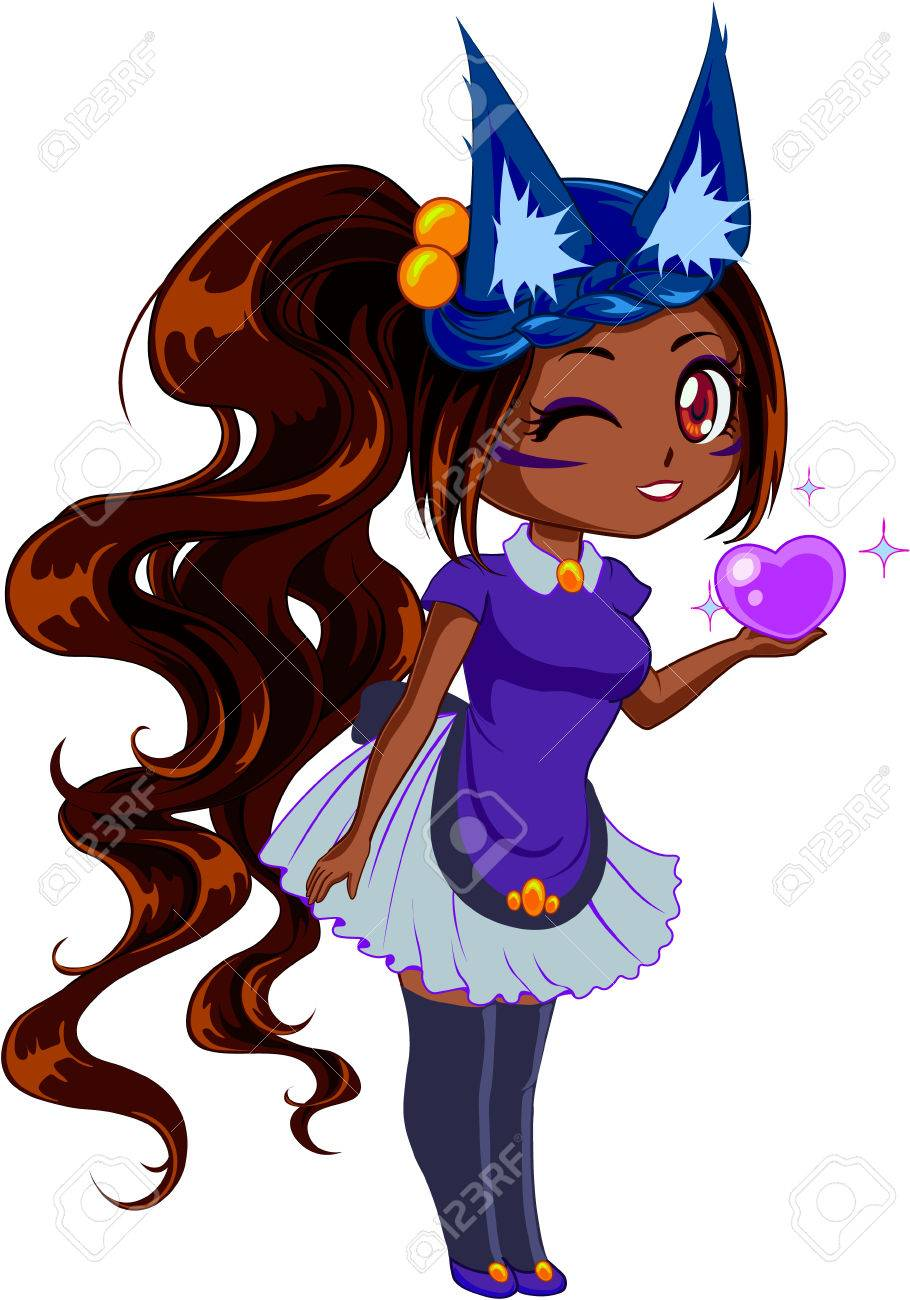 Cute Cartoon Girl With Brown Hair And Brown Eyes And Fox Ears