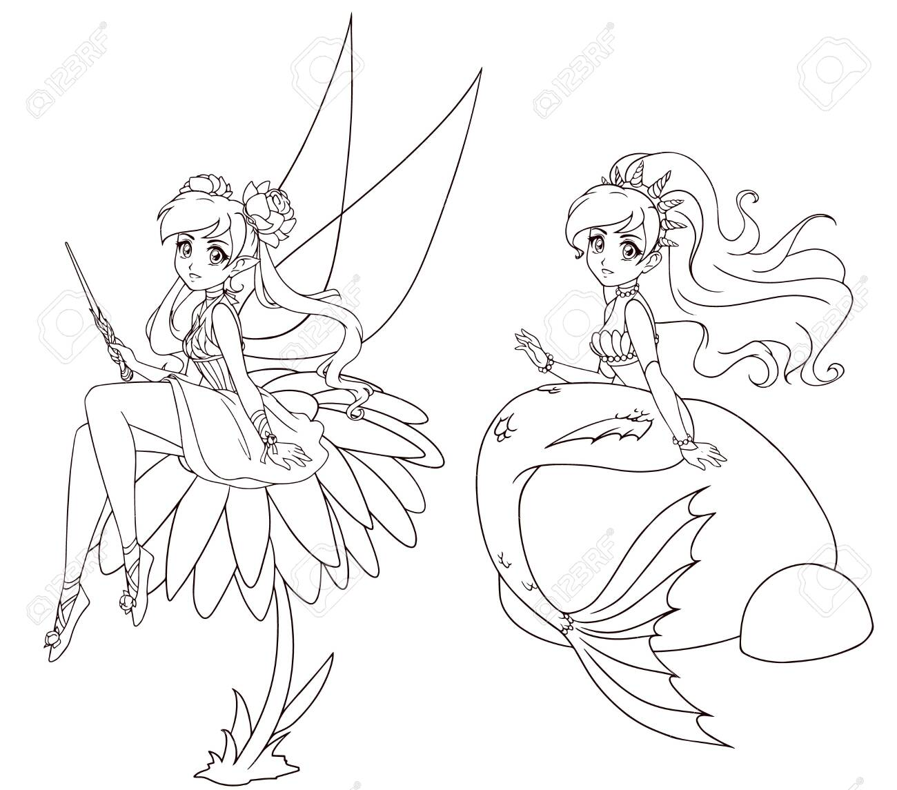 123760013-set-of-two-anime-style-characters-mermaid-and-fairy-hand-drawn-vector-illustration-on-a-white-backgr.jpg