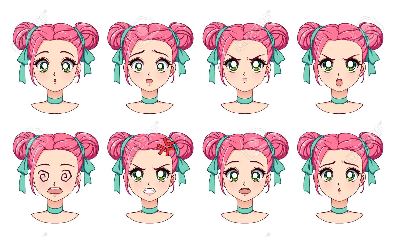 A set of cute anime girl with different expressions. Pink hair,..