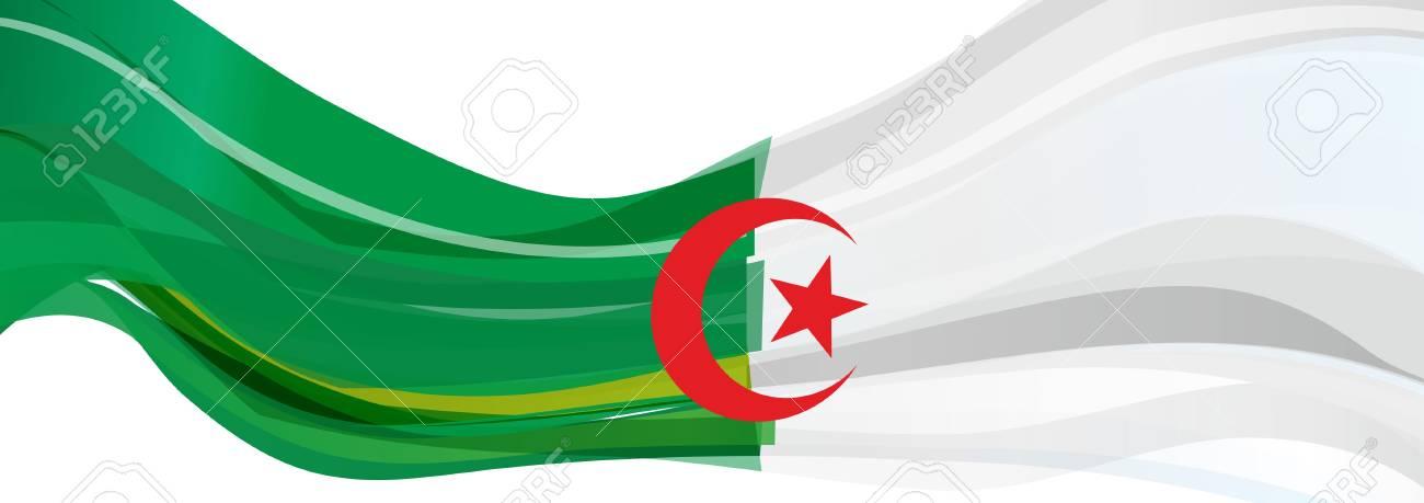 Drapeau De Lalgérie Blanc Vert Avec Une étoile Rouge à Cinq Branches Et Un Drapeau Croissant De La République Populaire Démocratique Algérienne