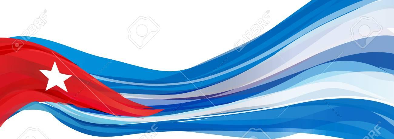 Drapeau De Cuba Bleu Blanc Avec Un Triangle Rouge Et Une étoile à Cinq Branches Drapeau De La République De Cuba
