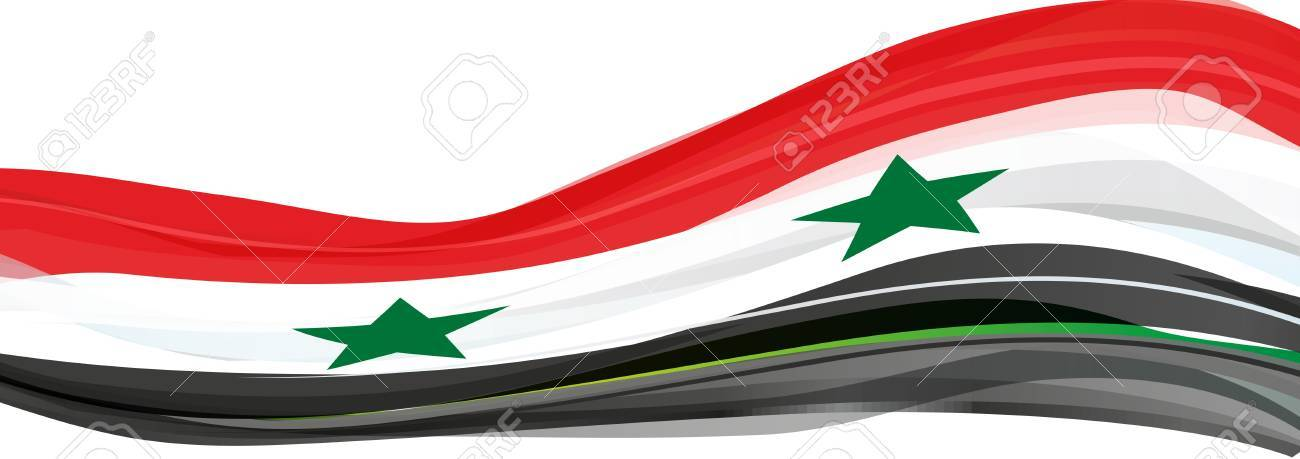 Flag Of Syria Red White Black With Green Stars On The Flag Of