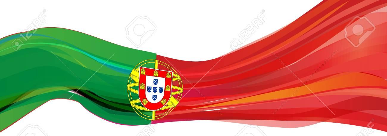 ポルトガル、ポルトガルの共和国の国章と緑の赤い旗の旗 の写真素材 ...