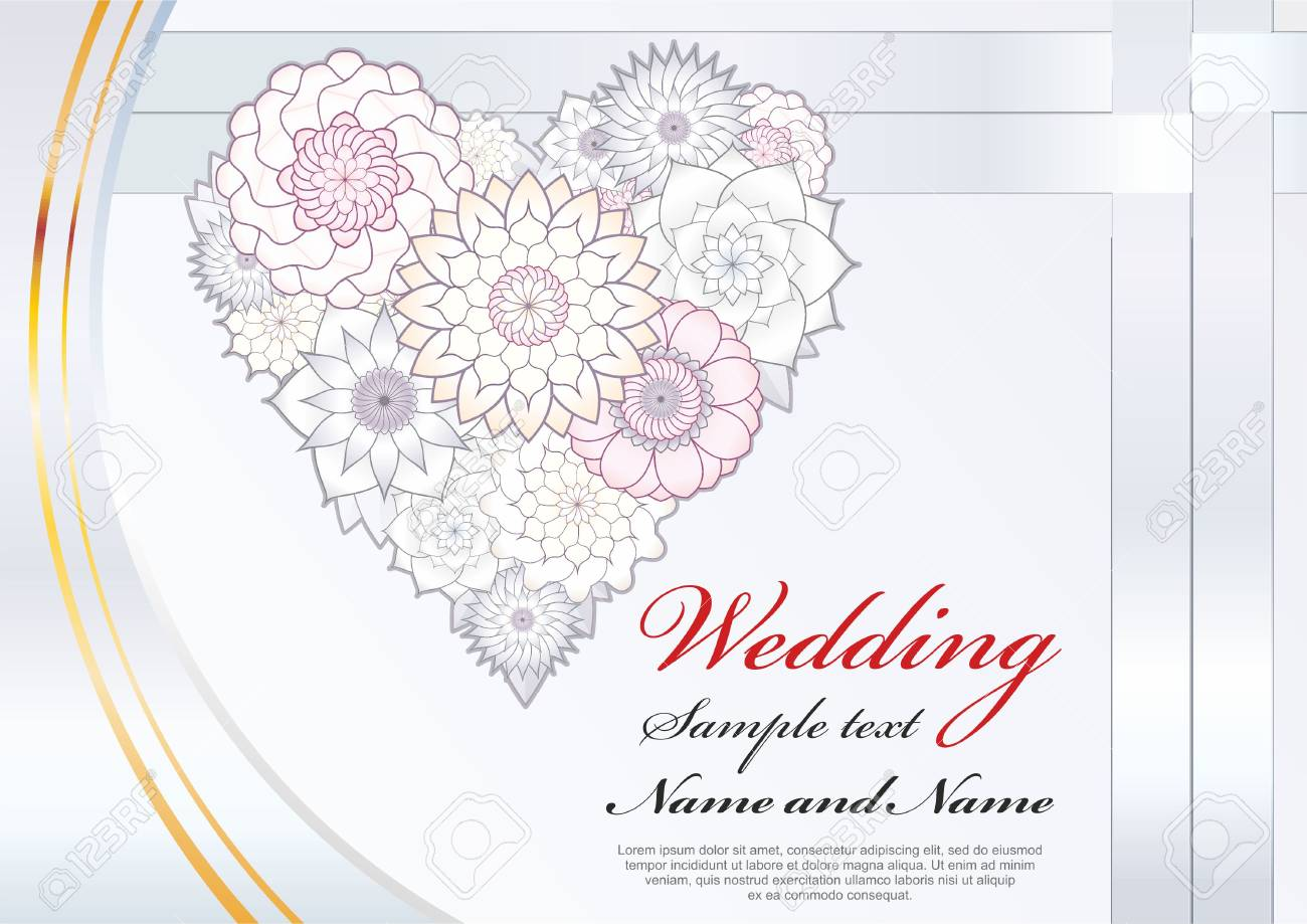Luxury Wedding Invitation Or A Poster A Greeting Card With White