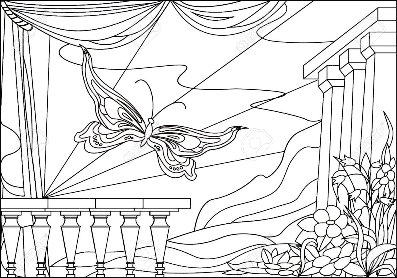 Ilustración Imágenes De Bebé Para Colorear Paisaje Con Flores Y