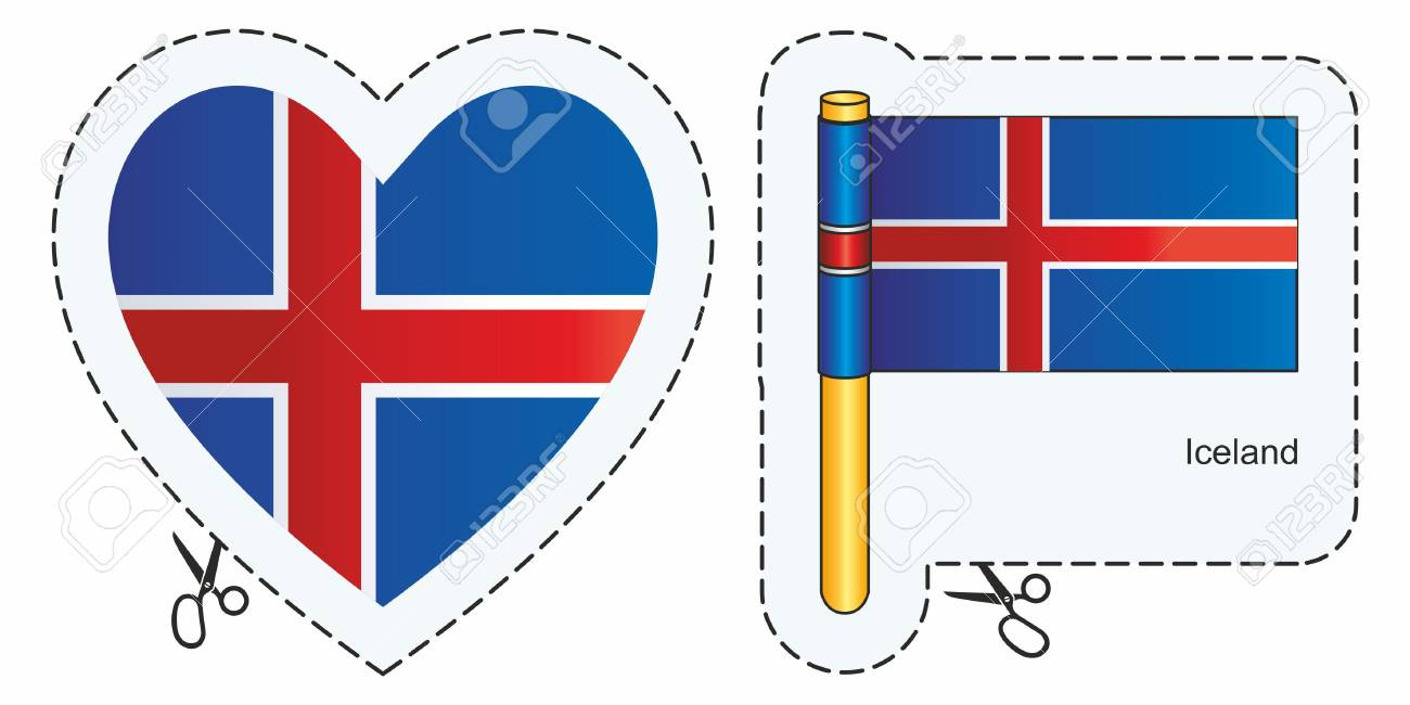 Flag of iceland vector cut sign here isolated on white can be used