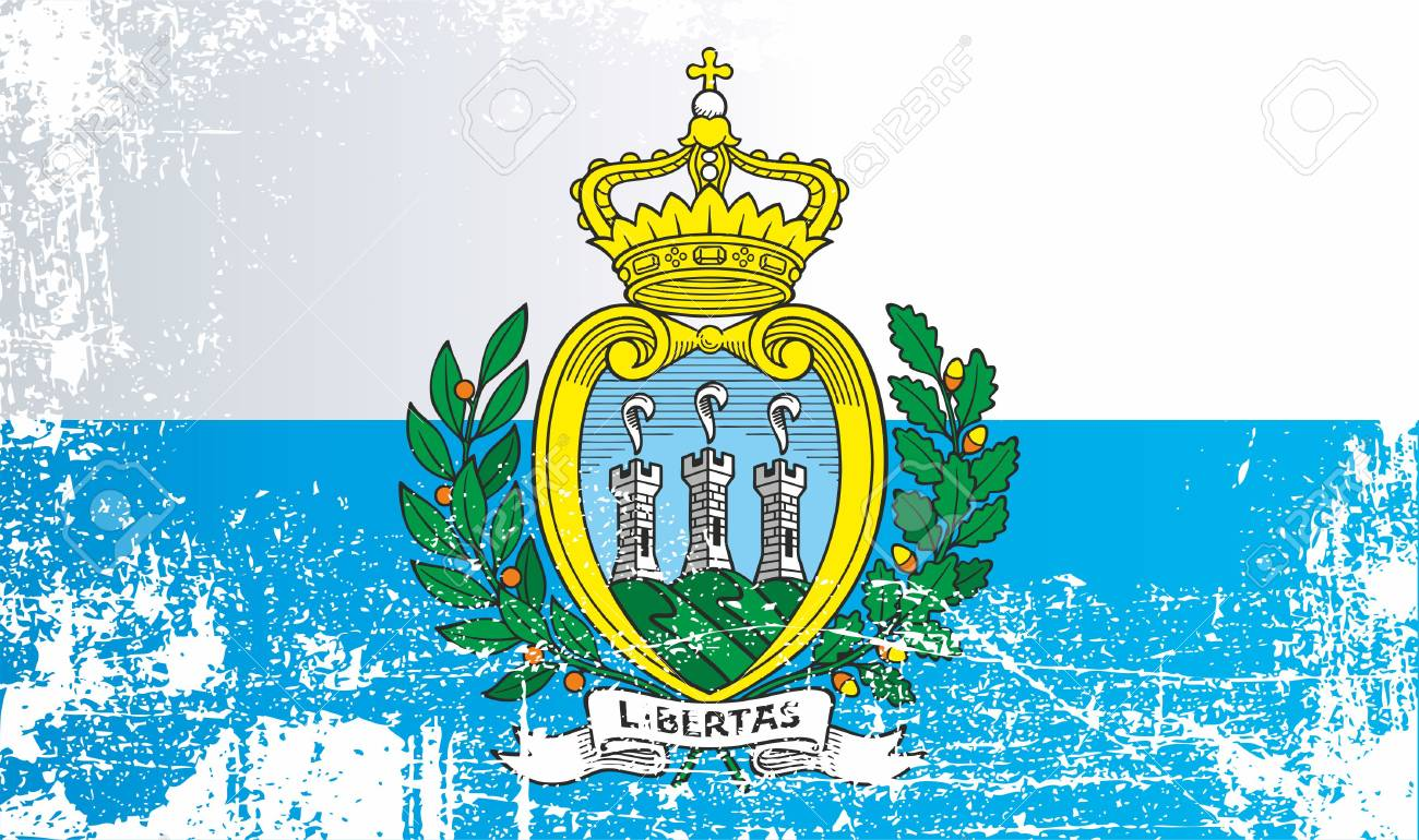 Flag Of San Marino. Wrinkled Dirty Spots. Can Be Used For Design ...