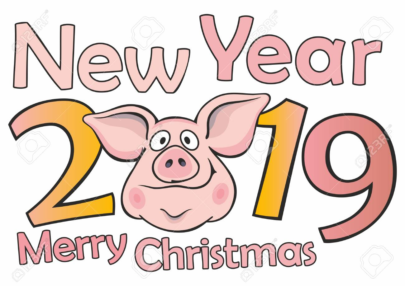 Funny Christmas Cards 2019 New 2019. Funny Christmas Pig, Merry Christmas And New Year