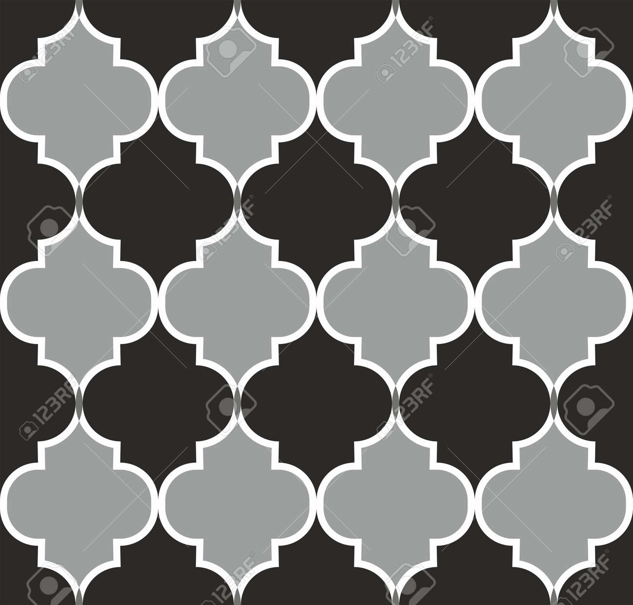 Seamless pattern with ogee ornament. Oriental traditional ornamentation with repeated tile shapes. Moroccan Mosque. Traditional ramadan pattern. Islamic argyle design of lantern lattice shape tiles. - 166422937