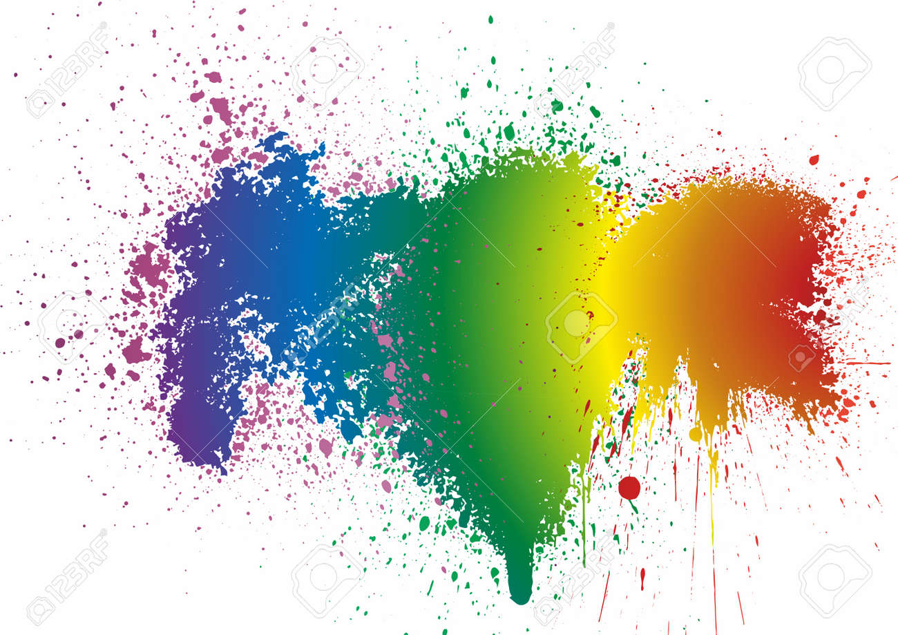Rainbow. Colorful stain isolated on a white background Rainbow colors. Splashes of paint, grunge background. For decoration of LGBT parades and parties. - 168969428