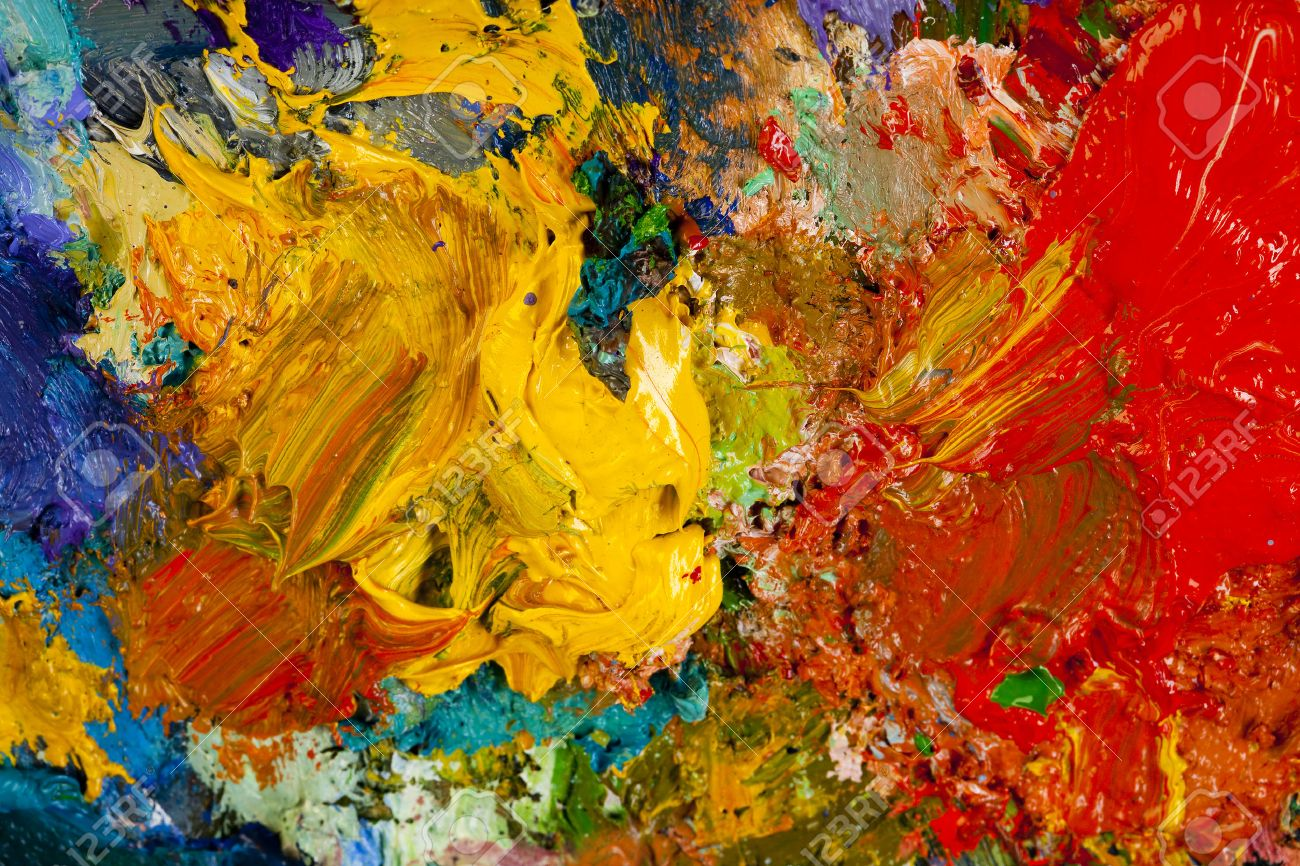 macro artist's palette, texture mixed oil paints in different colors and saturation studio - 29007012