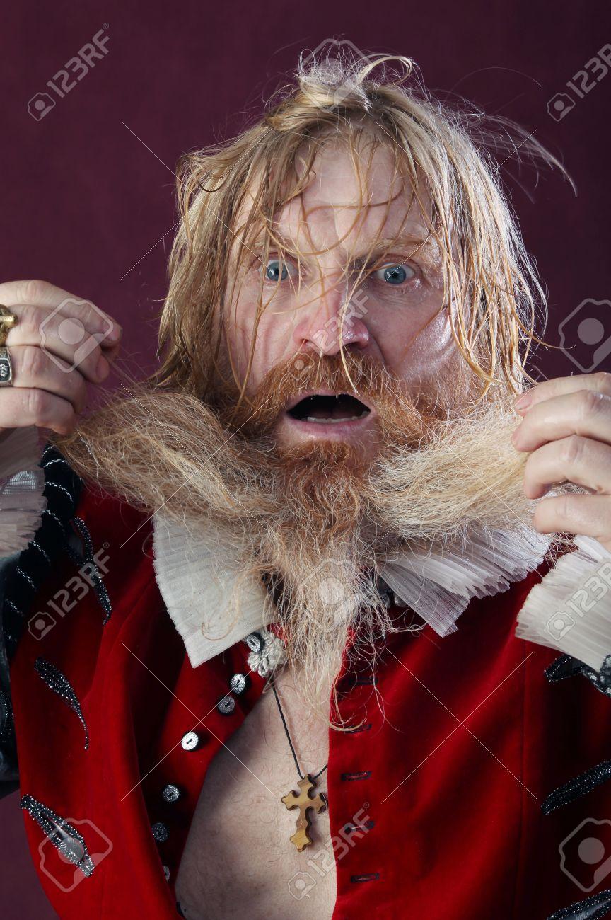 Close Up Porträt Von Einem Erwachsenen Mann Mit Langen Blonden