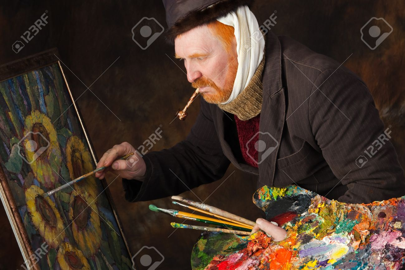 close-up portrait of the adult artist with red beard and mustache in the style of Vincent van Gogh studio on dark background - 34294216