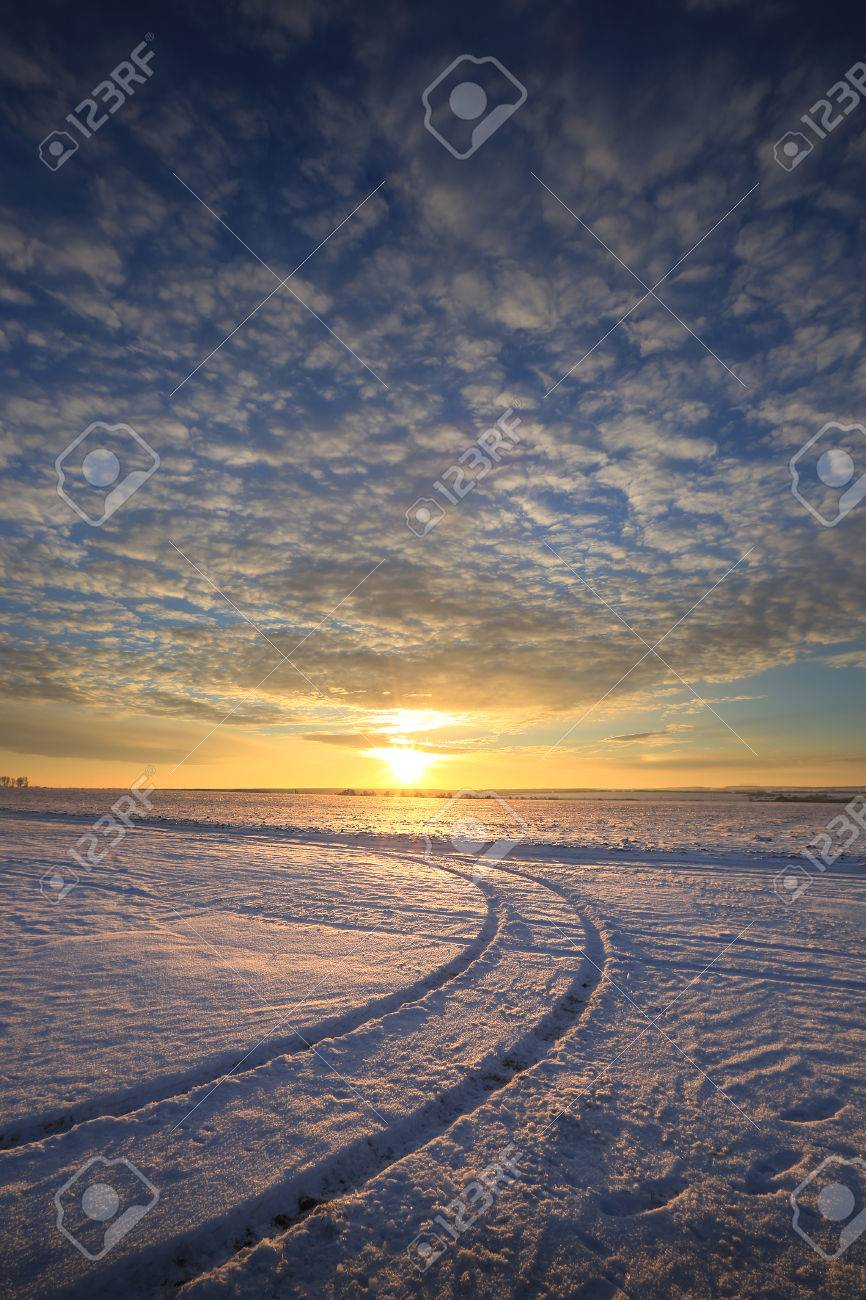 winter landscape colorful sunrise over the snow-covered field - 71416558