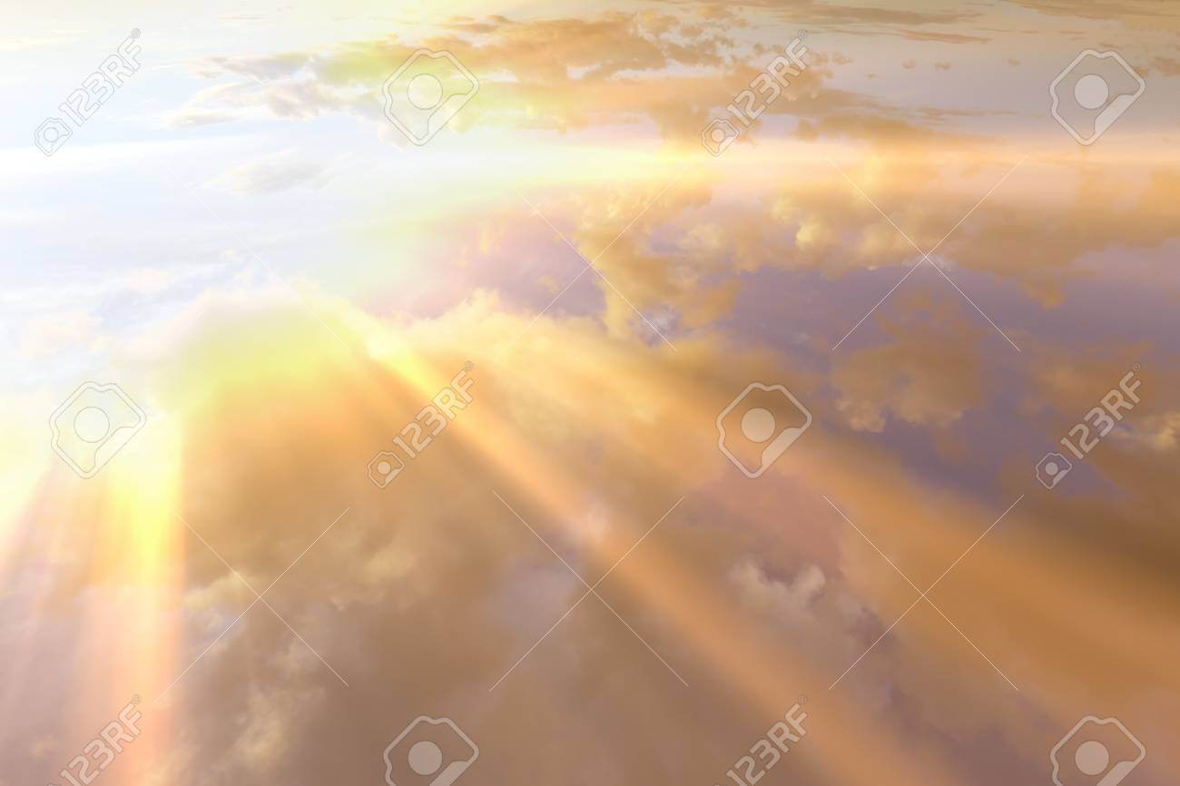 Sunset , sunrise with clouds, light rays and other atmospheric effect - 124697262