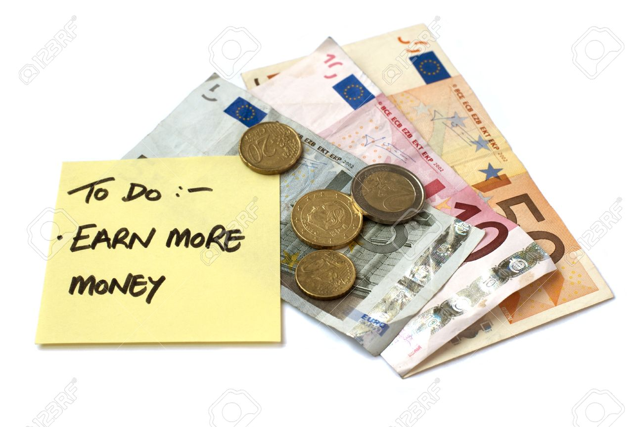 To Do List Earn More Money post it note stuck to pile of savings