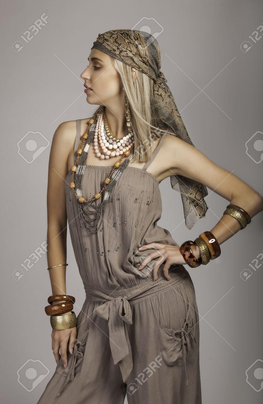 35877712c348 beautiful bohemian woman in safari clothes Stock Photo - 24795325