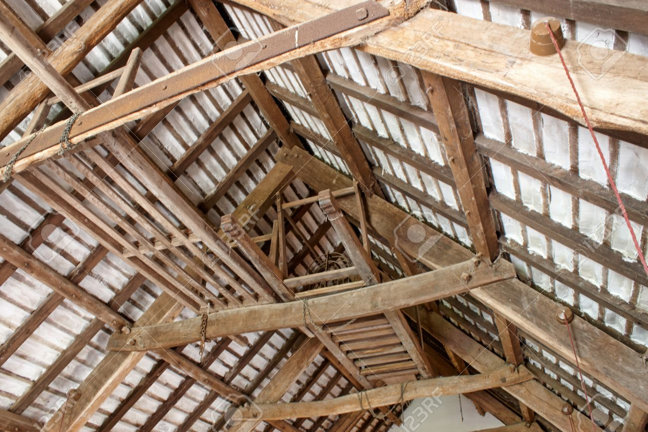 The Craftmanship Of Old Interior Roof Beams Stock Photo   11712777