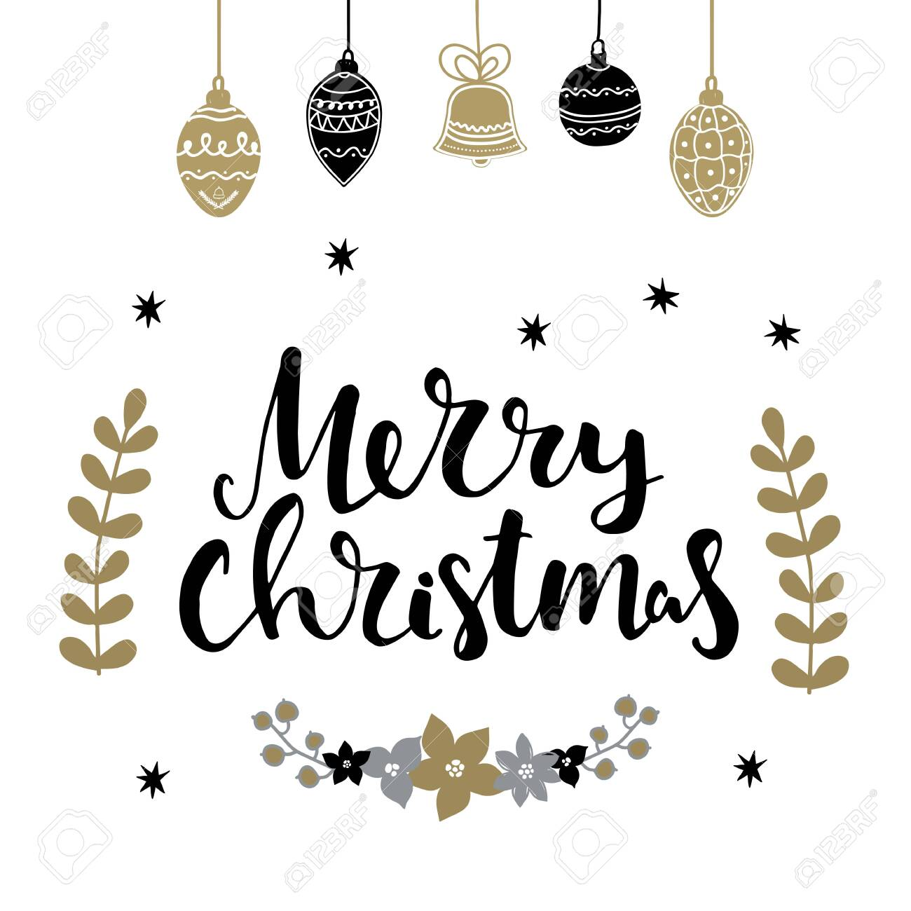 Set of christmas design elements and hand written lettering about christmas and winter holidays. Merry christmas hand written lettring words - 142661861