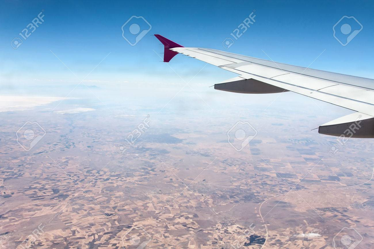 View To The Earth From A Window Of Metres Flying At Height - Height above sea level