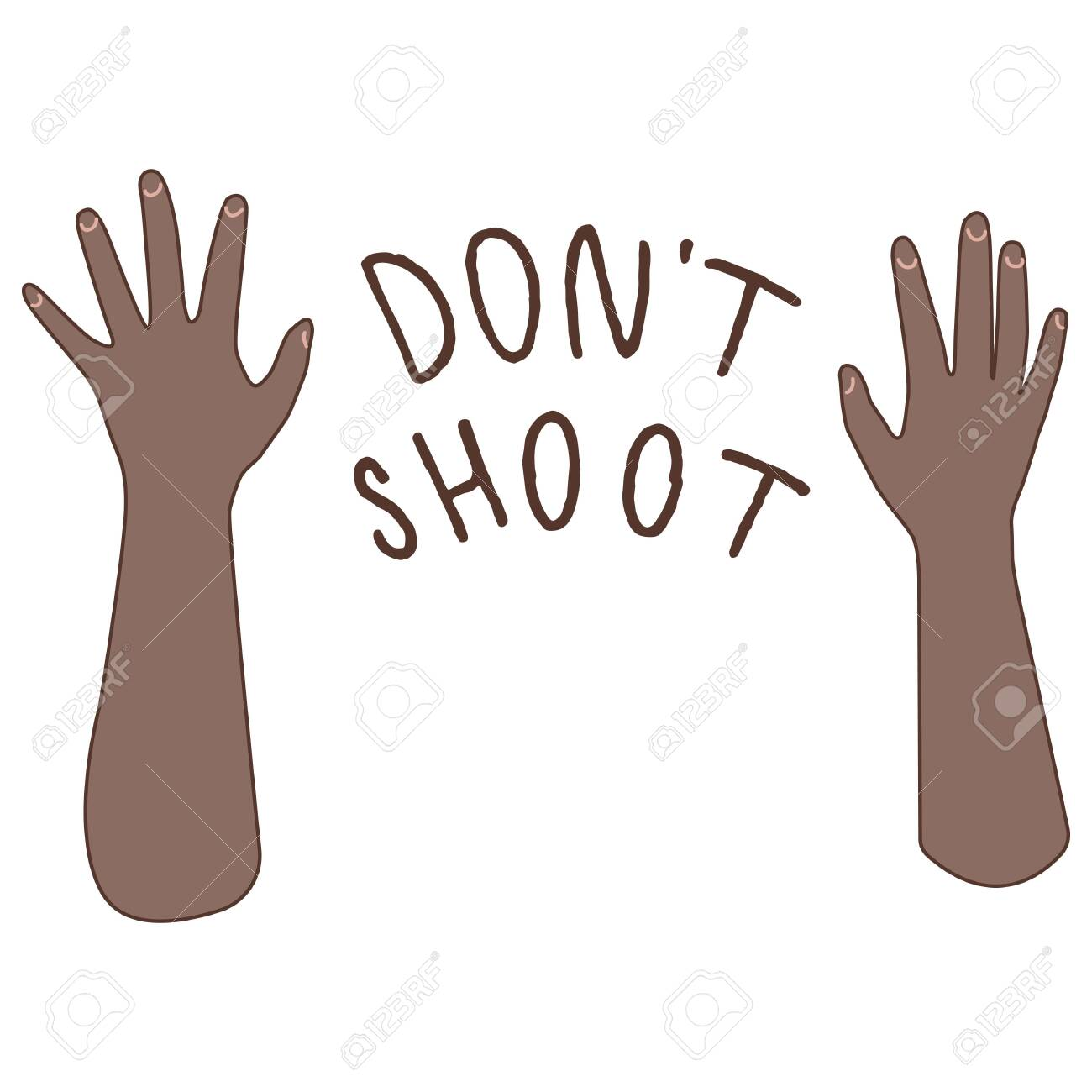 Don't shoot text on white isolated backdrop. Raised afro hand blm poster for invitation or gift card, social banner, news blog, flyer. Phone case or cloth print. Doodle style stock vector illustration - 150168852