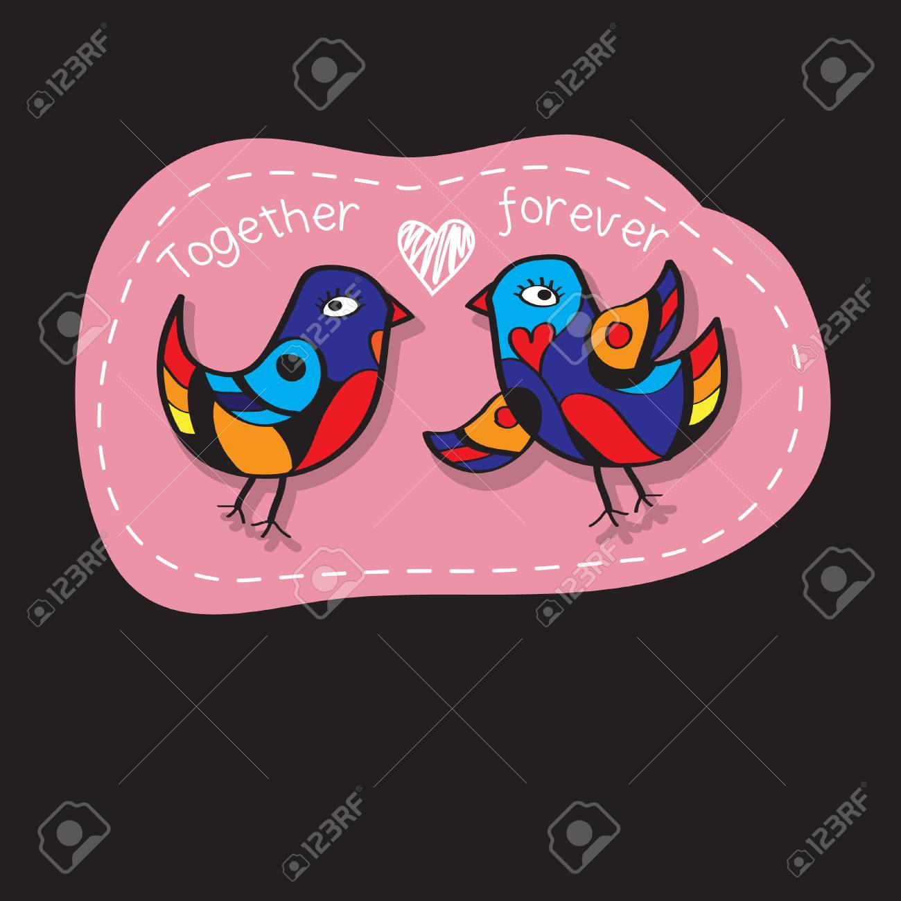 Birds Couple In Love Great Illustration For Greeting Cards