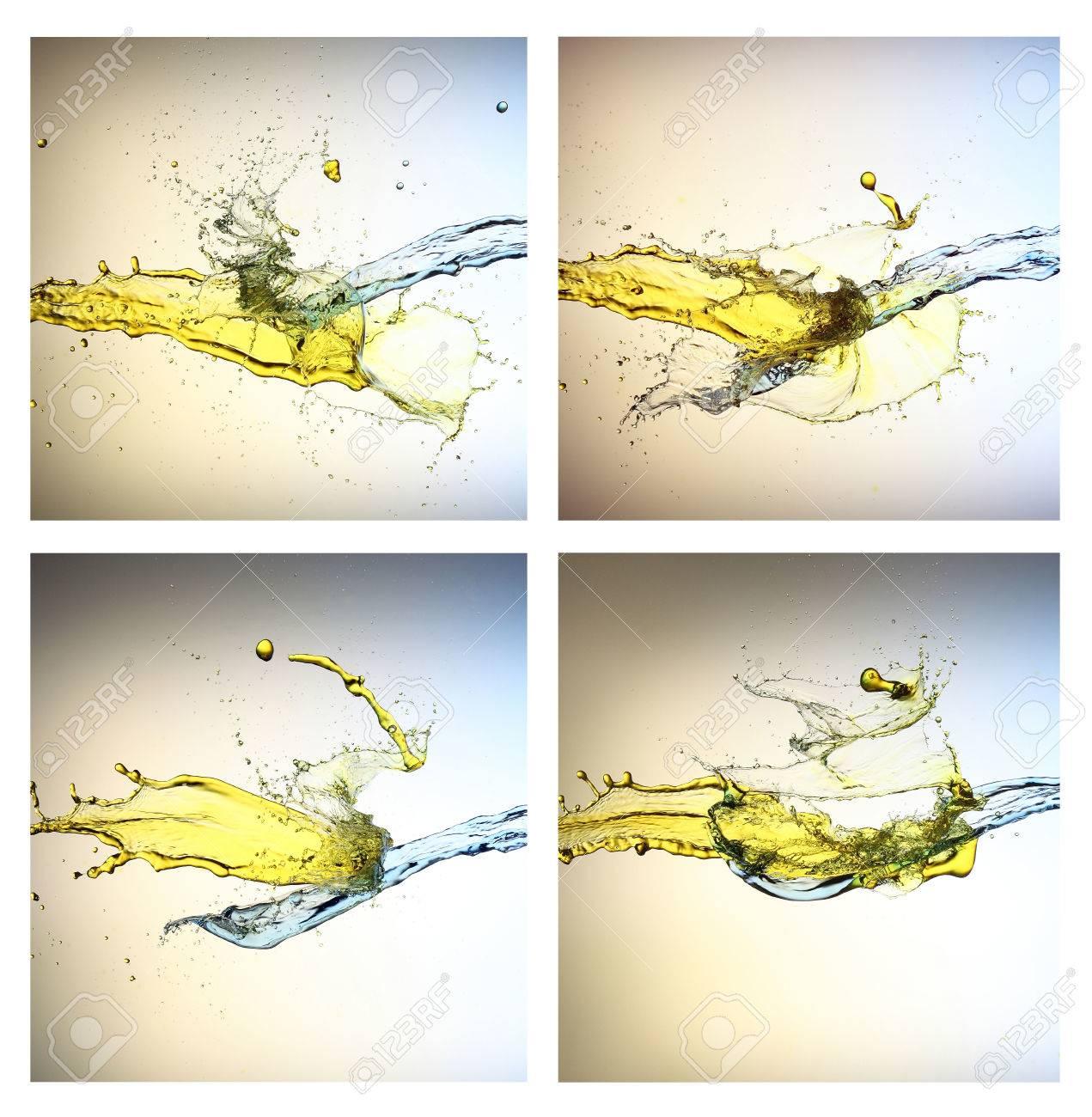 Sammlung Gelb Und Blau Flüssigkeitsstrahlen Standard Bild   60236988