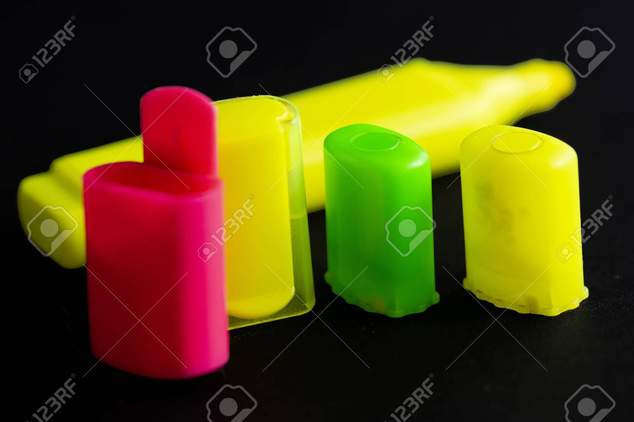 Colored Highlighter Caps Caps On Black Background