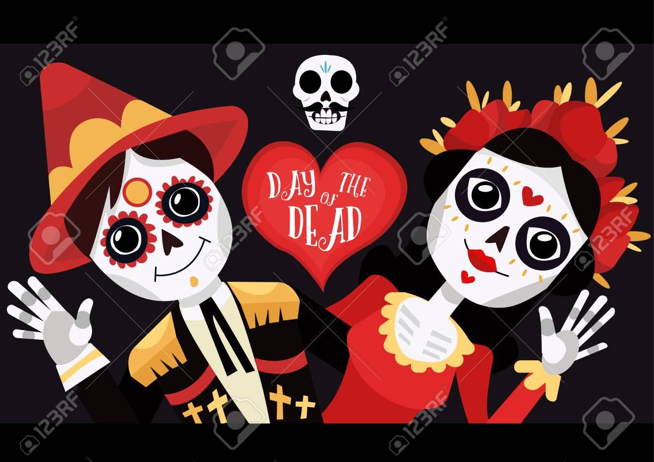 Day Of The Dead Poster La Calavera Catrina Funny Skulls Cartoon
