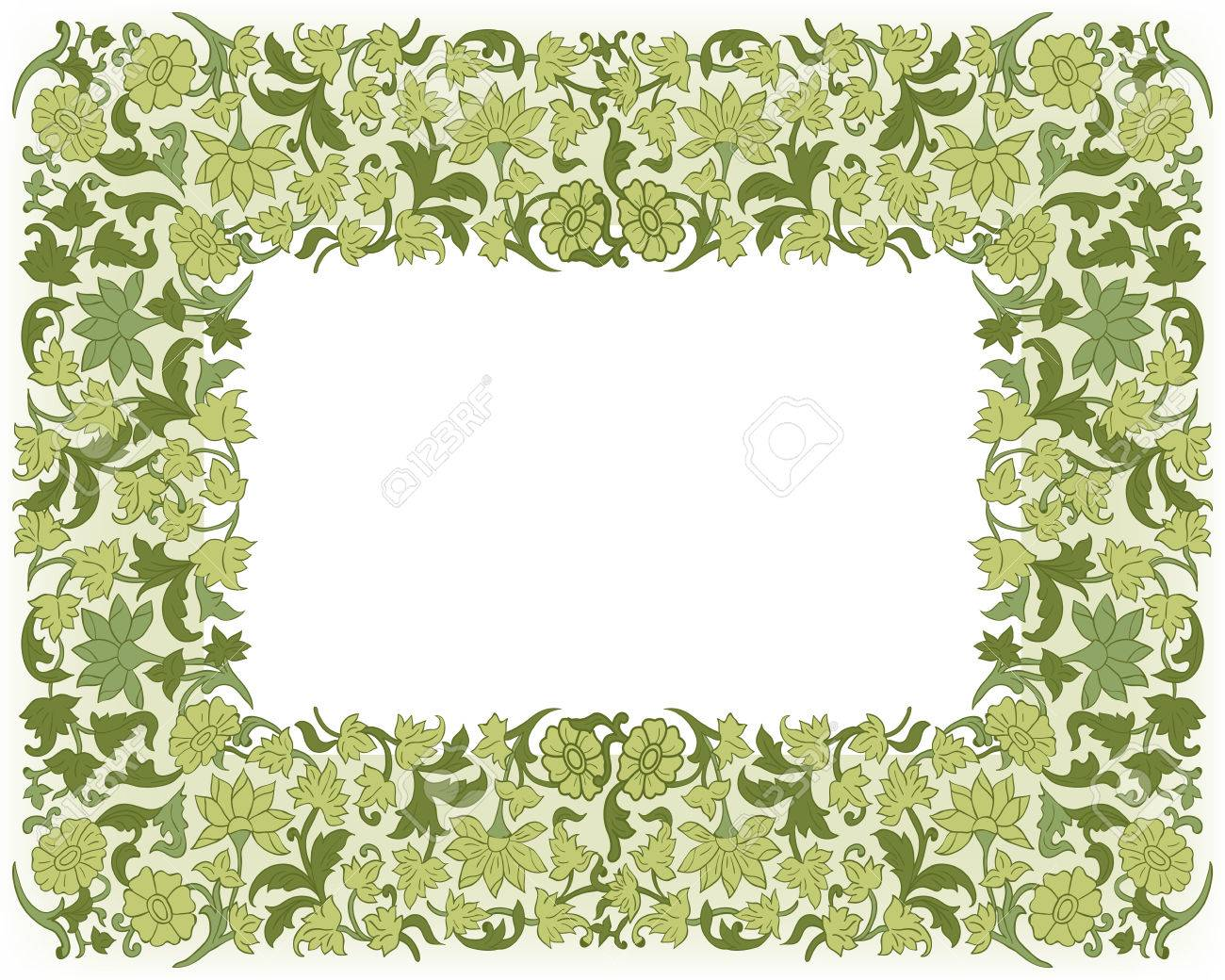 Wedding Invitation. Border Frame With Flowers. Floral Luxury