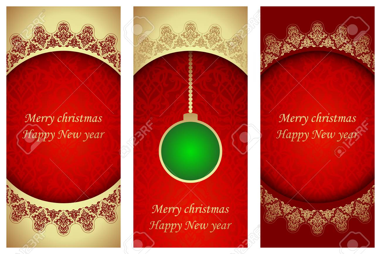 Set Of Christmas Cards In Victorian Style. Template Frame For ...