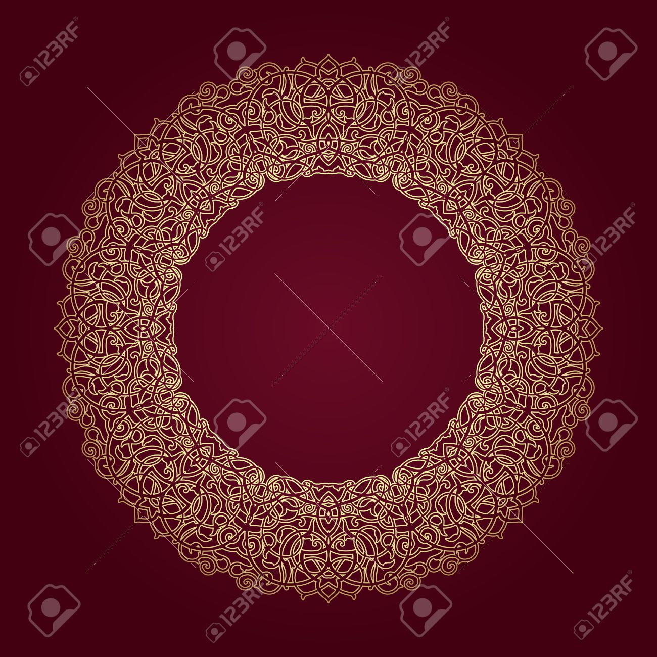 Decorative Ornate Round Frame In Victorian Style. Ornamental ...