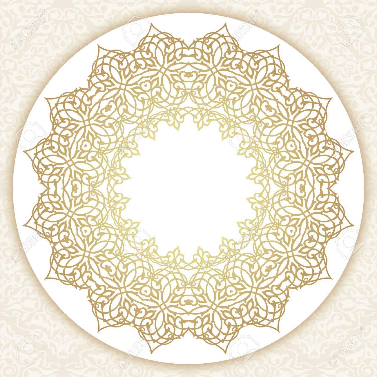 decorative ornate round frame in victorian style ornamental
