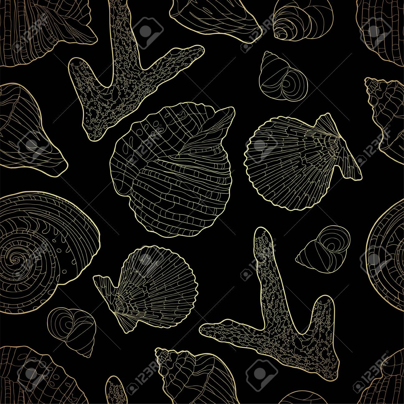 Seamless pattern with shells, coral and chains. Marine motif background. Pattern in nautical style with sea shells. Vector illustration - 140497141