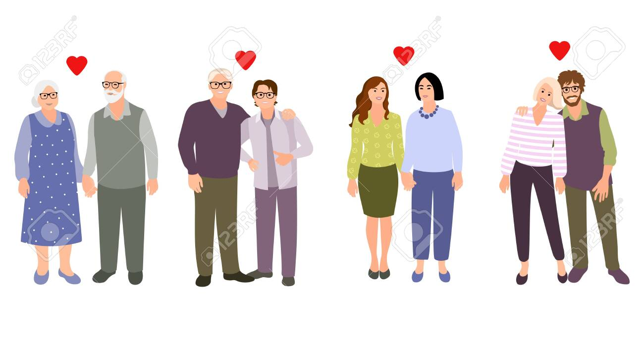 Set of families. Collection different couples. Happy couples. Vector cartoon style illustration. - 145752953