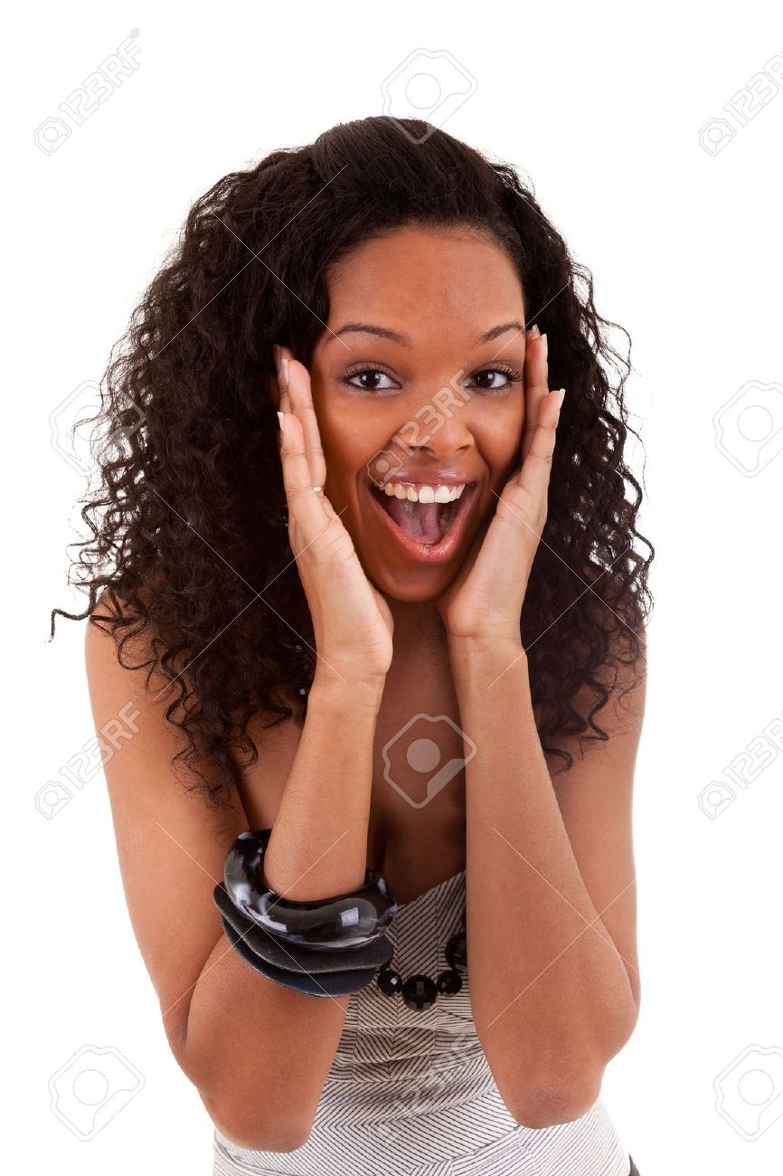 Closeup portrait of a surprised young black woman Stock Photo - 9010810